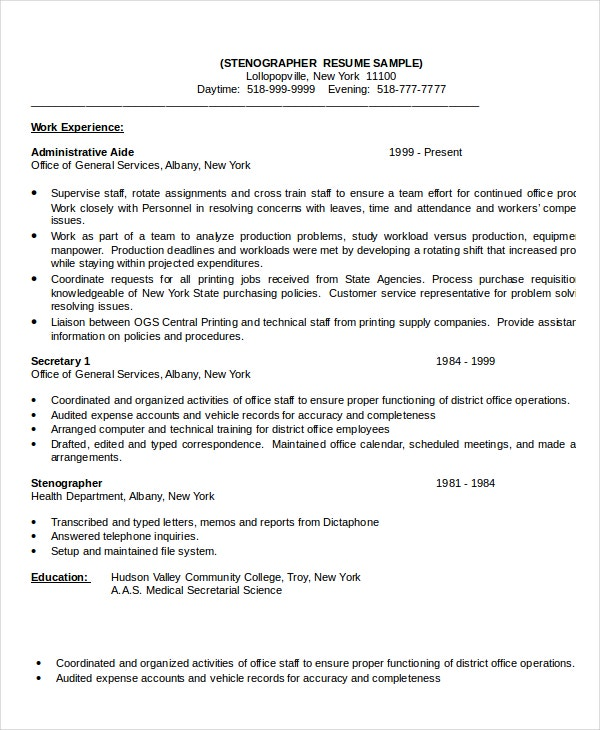 sample stenographer resume - Typist Resume