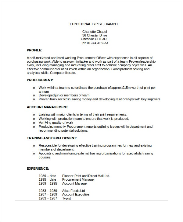 Function Typist Example Resume