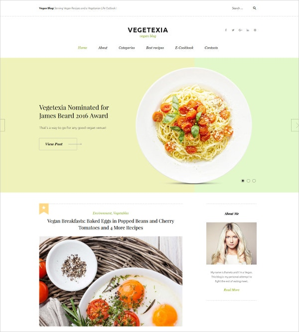 Recipes Responsive WordPress Website Theme $45