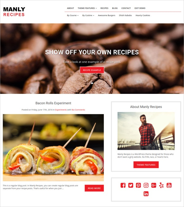 Masculine Recipe Website Theme