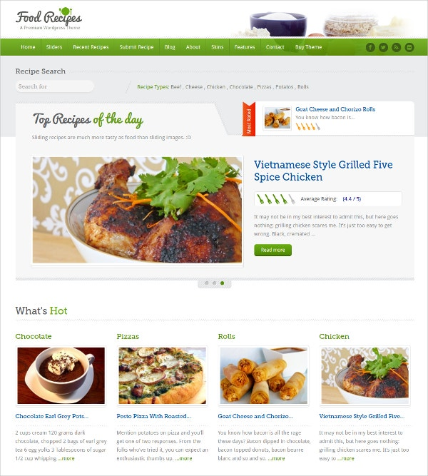 Fully Responsive Recipe Website Theme