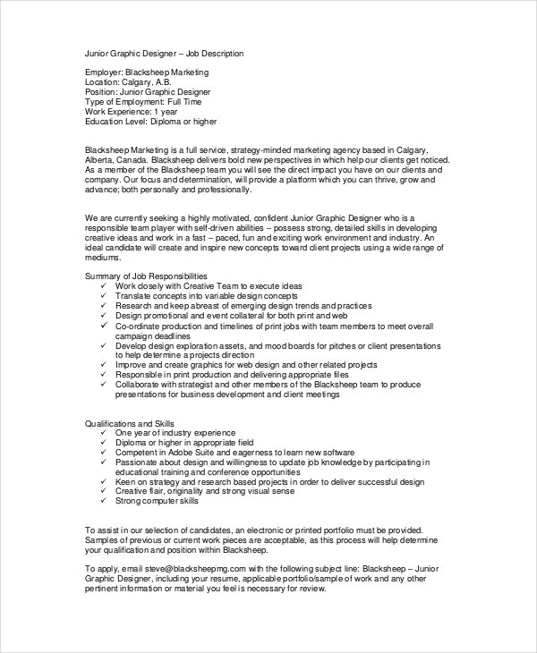 example of a job description template - 9 sample graphic designer job descriptions pdf doc