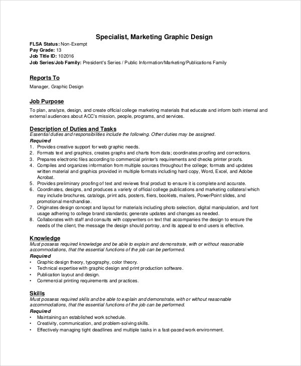 Sample Graphic Designer Job Descriptions  Pdf Doc  Free