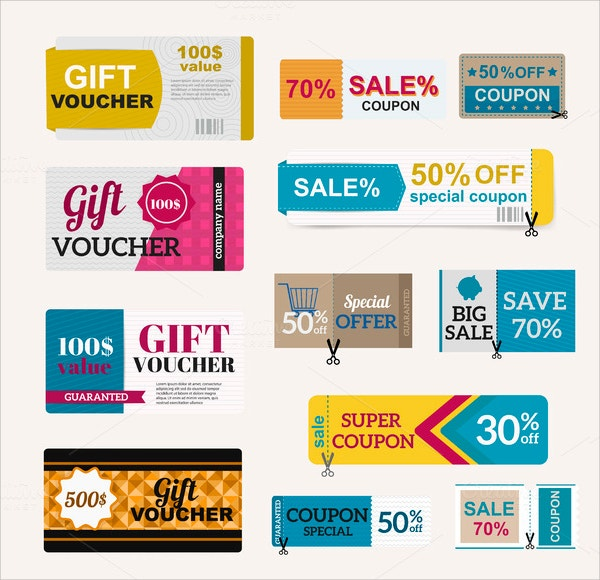 Vector Gift Voucher Collection Set