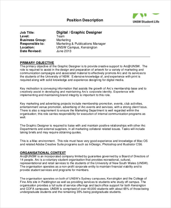 sample digital graphic designer job description