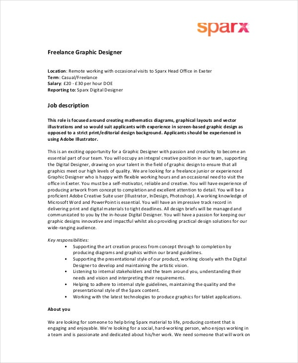 Graphic Designer Job Description  Free Sample Example Format