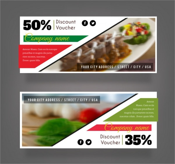 Set Of Discount Vouchers For a Restaurant