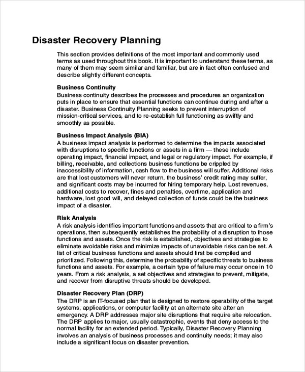 Data Disaster Recovery Plan Example