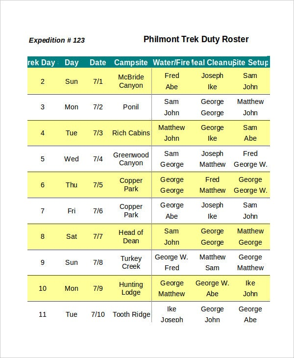 duty schedule template excel roster template 5 free excel documents download