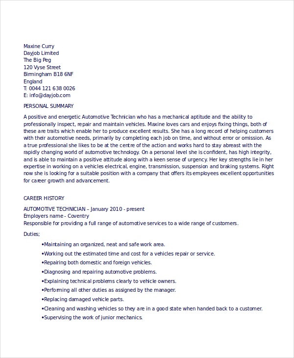 Automotive Technician Resume automotive technician resume sample Automotive Technician Resume