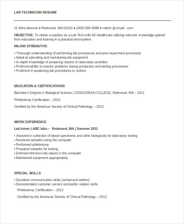 lab technician resume. Resume Example. Resume CV Cover Letter