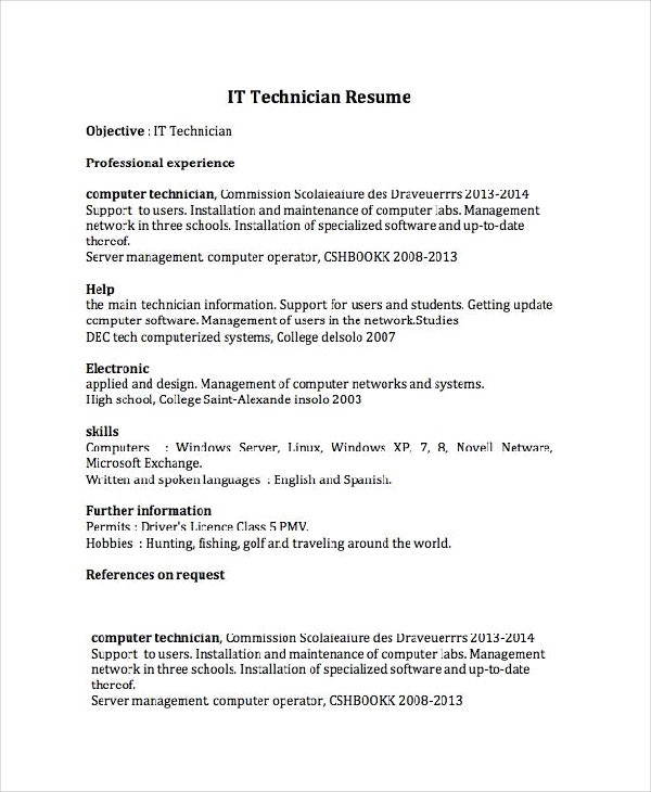 it technician resume - Pc Technician Resume Sample