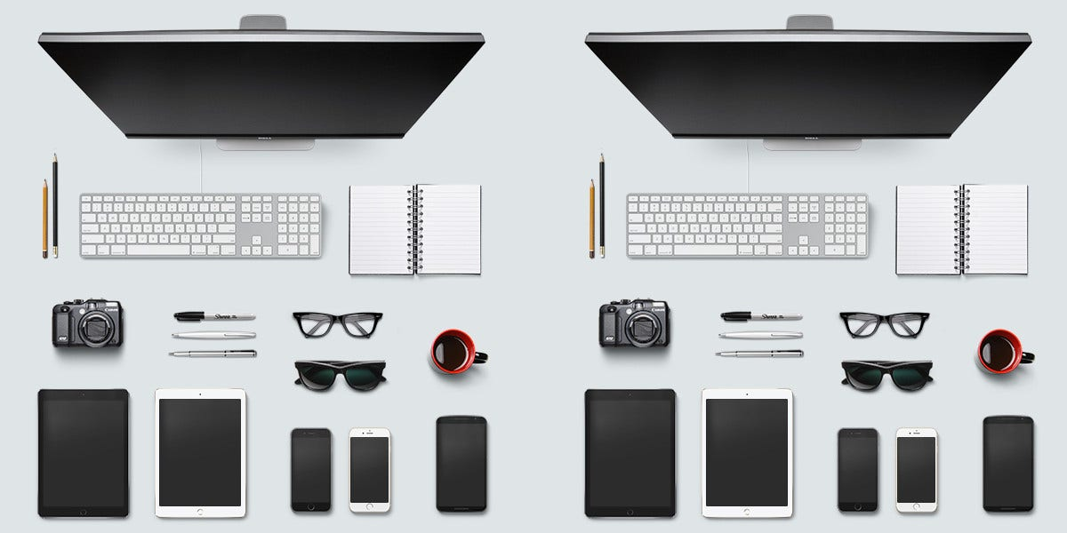 designer desk objects isolated on table