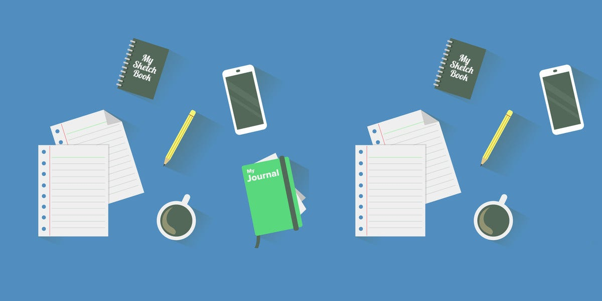 messy desk vector isolated on blue background