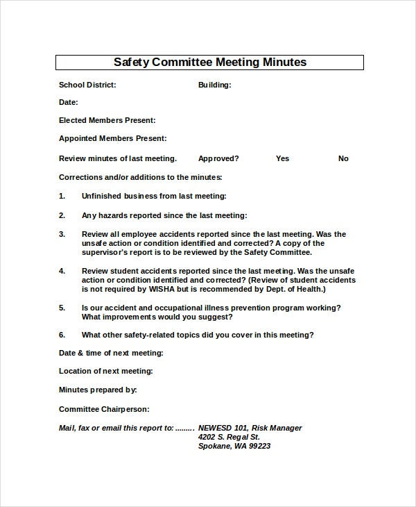 Safety Meeting Minutes Template   Free Word Pdf Document