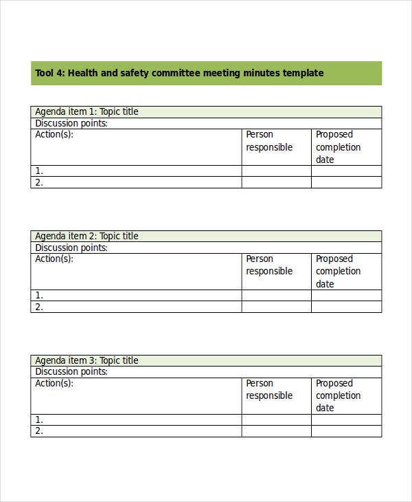 Safety meeting minutes template 7 free word pdf for Health and safety statement of intent template