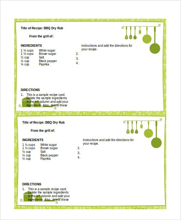 Recipe Card Template For Word  Free Recipe Templates