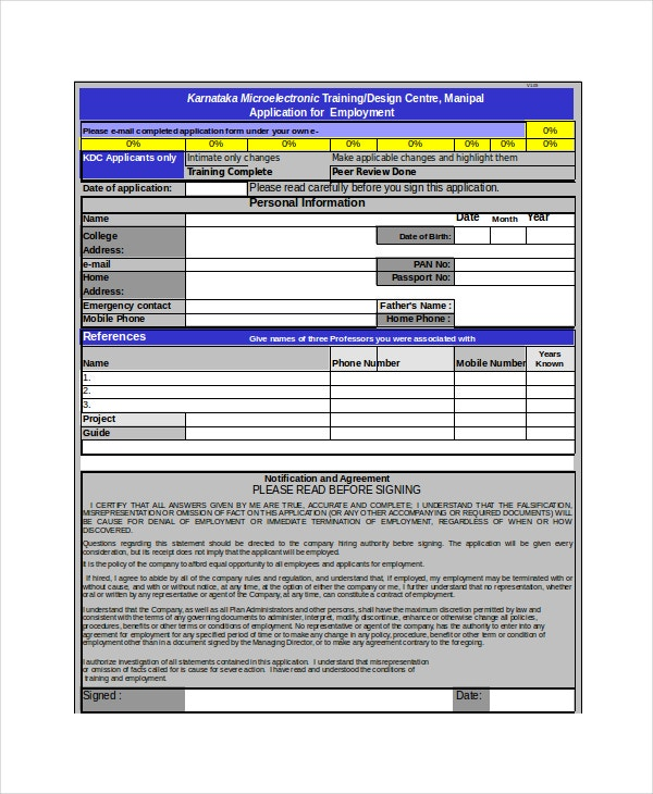 Application Form Template Excel