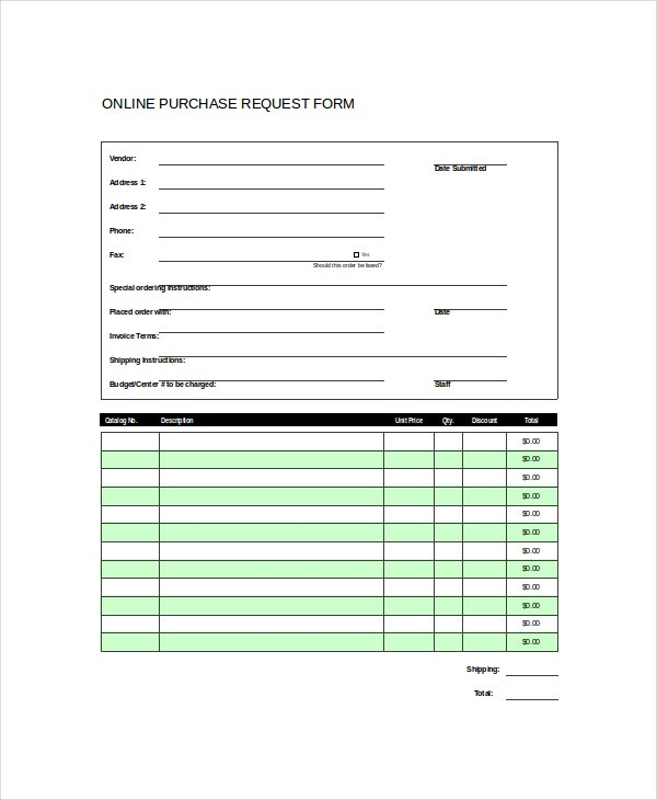 Purchase Request Form Template