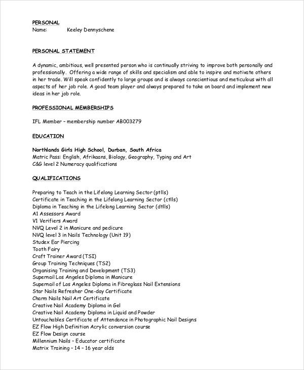 manicurist pedicurist resume pdf