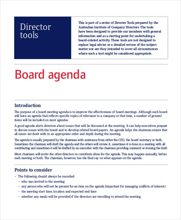 Project Board Agenda Template