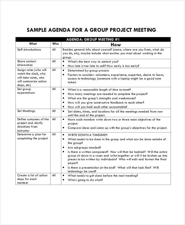 Sample Agenda Group Project Template