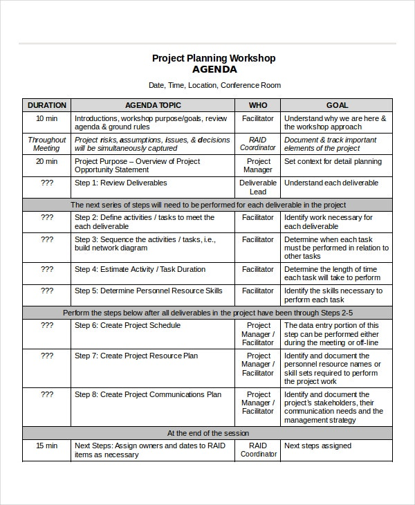 Project Planning Workshop Sample Agenda Template