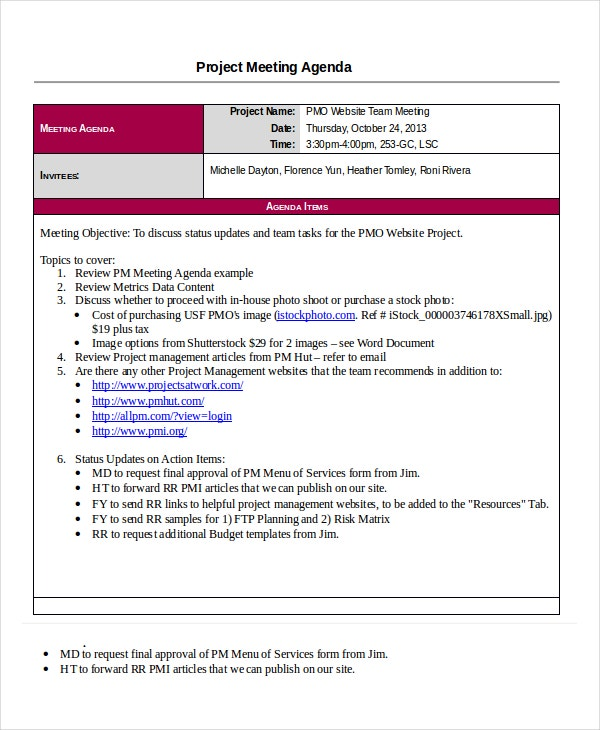 Project Agenda Template 6 Free Word Pdf Documents Download Free