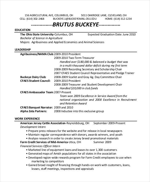 zookeeper internship resume - Animal Science Resume Templates