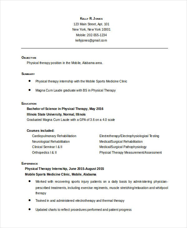Entry Level Physical Therapist Resume