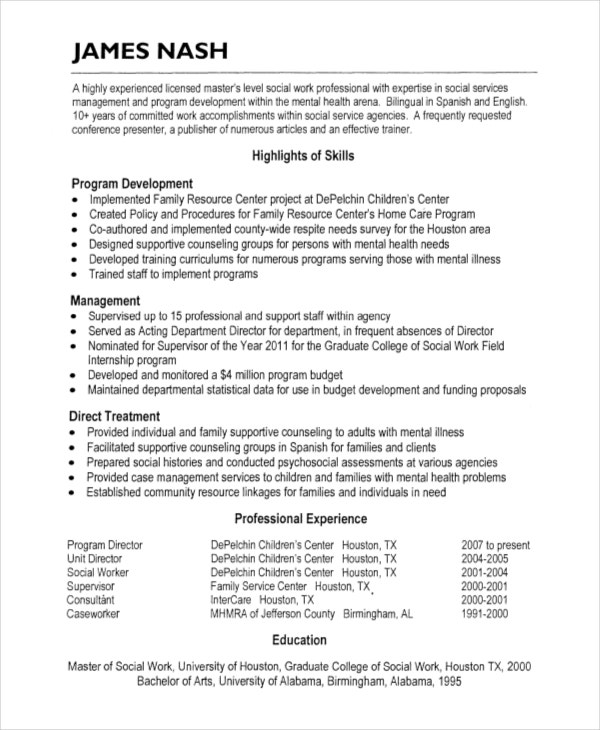 Social Work Resume  Free Word Pdf Documents Download Free Social