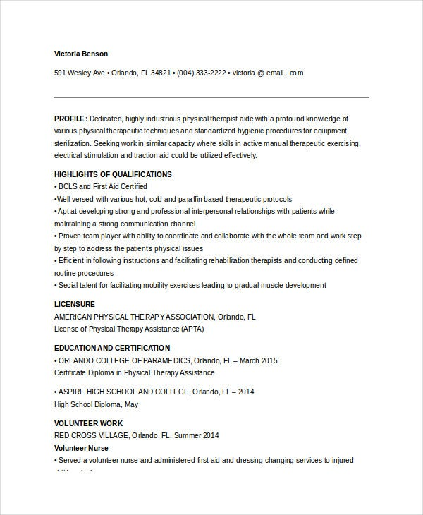 Physical Therapy Aide Fresher Resume