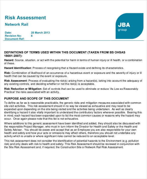 Network Rail Risk Assessment Template