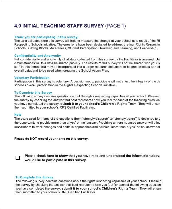 Initial Teaching Staff Survey