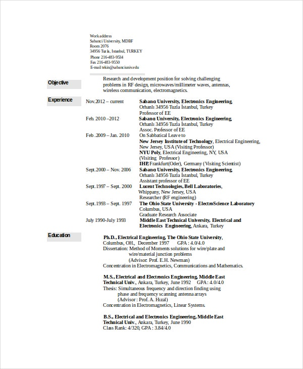 Electrical Engineering Resume Template 6 Free Word PDF Document