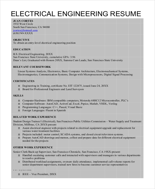 Entry Level Electrical Engineering Resume