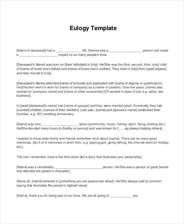 Eulogy Template For Father