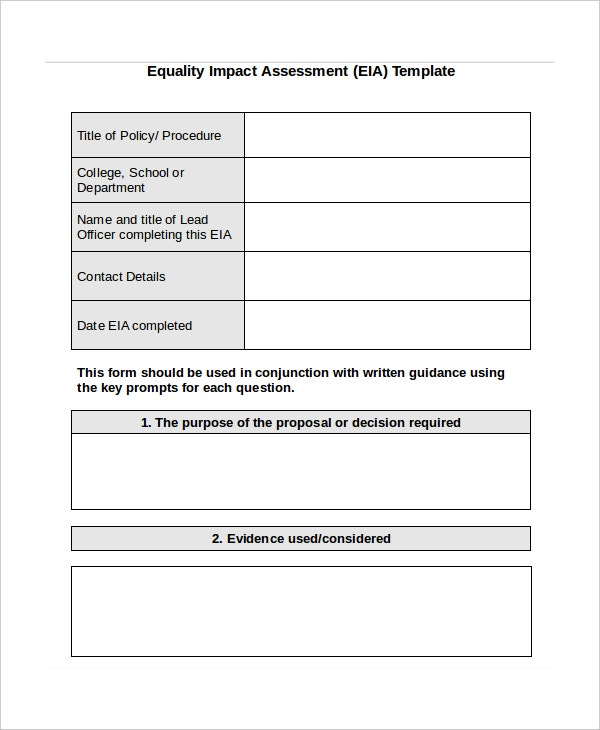 Impact Assessment Template - 6+ Free Word, Pdf Documents Download