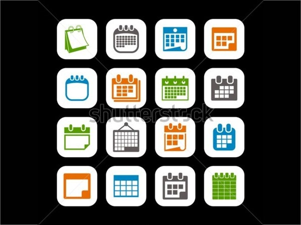 Vector Calendar Icon with Black Background