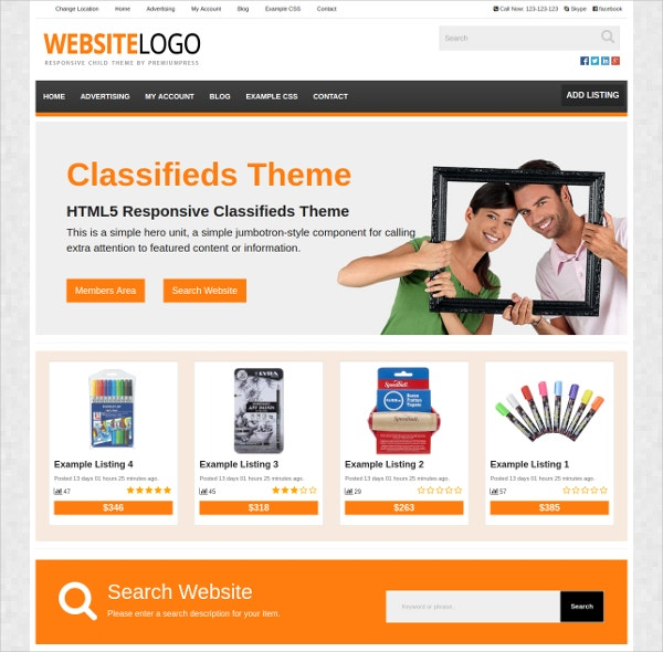 Popular Business Classifieds WordPress Theme $79