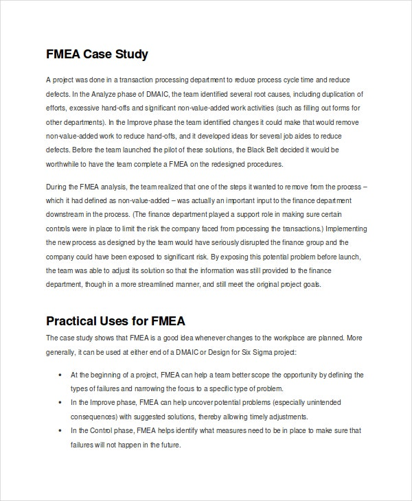 design fmea case study The challenge is to design in quality and is to use failure mode and effects analysis (fmea)  how the fmea works the team in this case is.