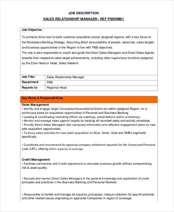 sales relationship manager job description template