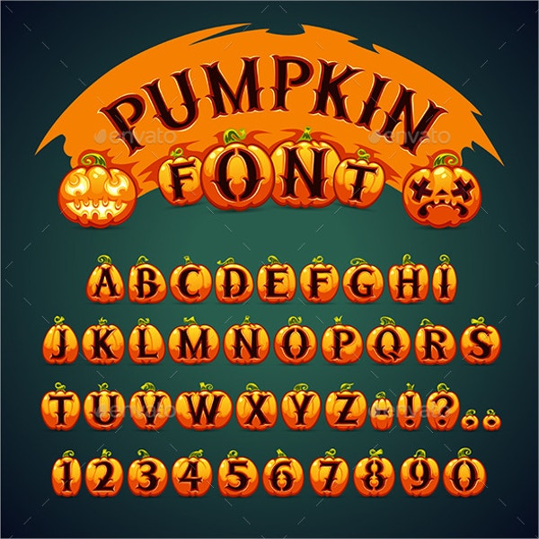 Vector Halloween Pumpkin Font