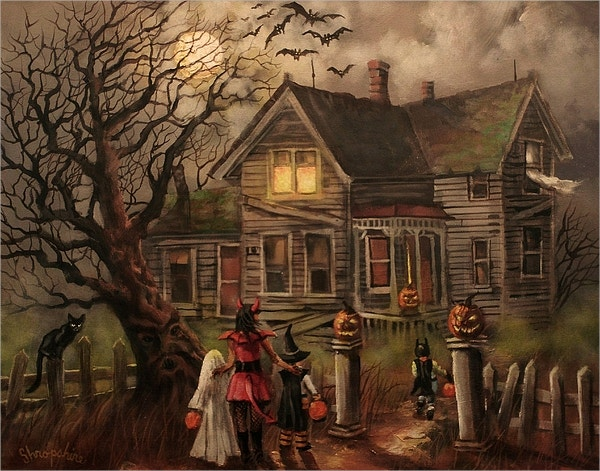 Halloween Dare Painting by Tom Shropshire
