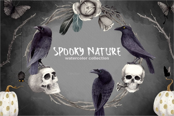 Nature Halloween Clipart Set