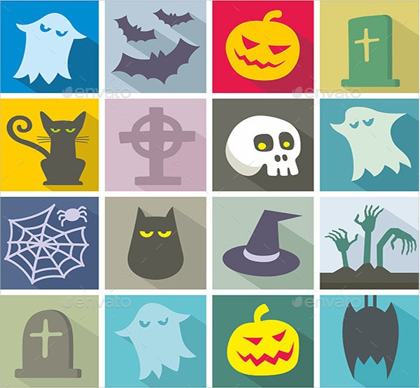 Cartoon Halloween Icons Illustration