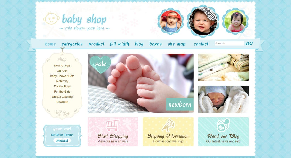 Children Shopping PHP Website Theme $17