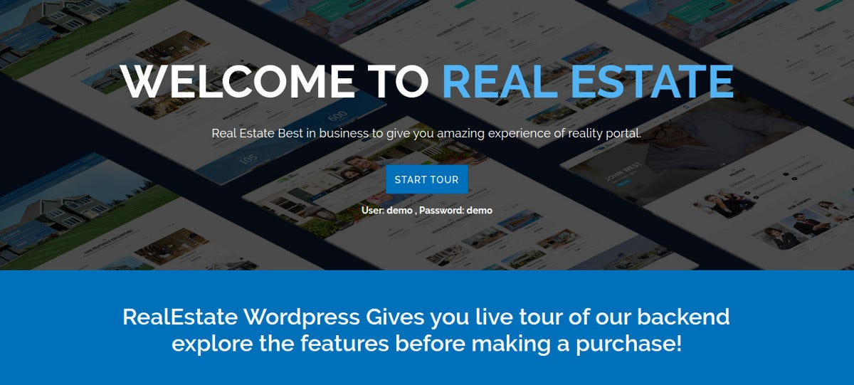 Real Estate WordPress Website Theme $54