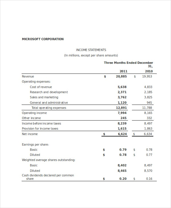 income statement template 9 free excel pdf documents