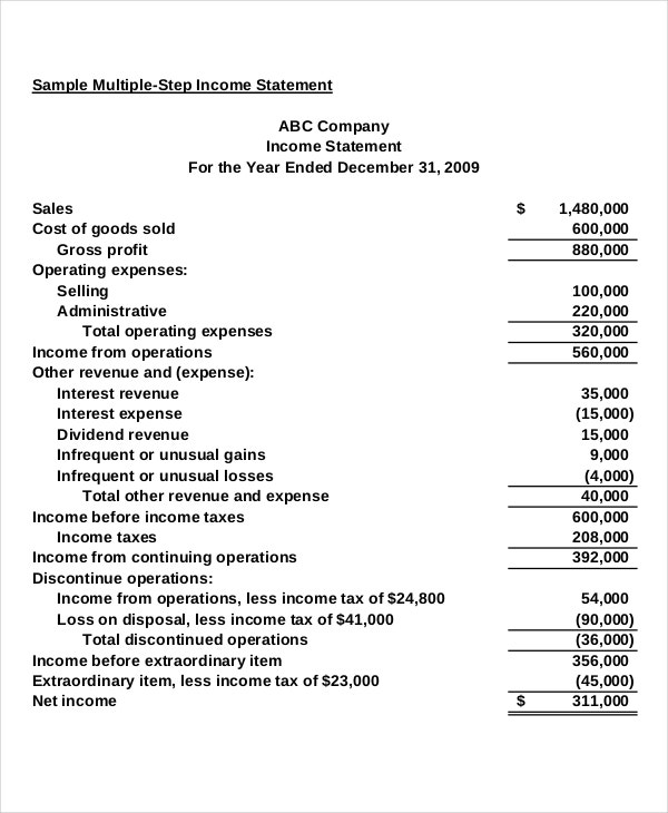 multi step income statement template